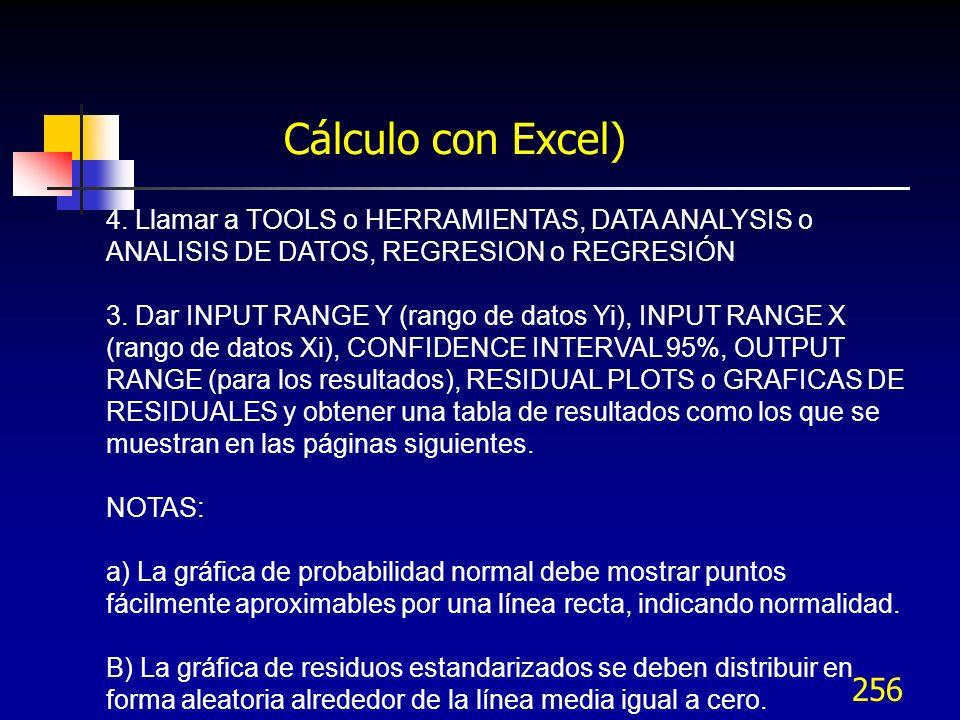 Cálculo con Excel) 4. Llamar a TOOLS o HERRAMIENTAS, DATA ANALYSIS o ANALISIS DE DATOS, REGRESION o REGRESIÓN.
