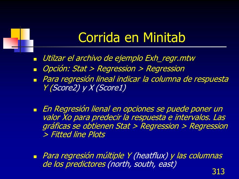 Corrida en Minitab Utilzar el archivo de ejemplo Exh_regr.mtw