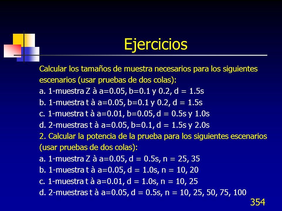 Ejercicios Calcular los tamaños de muestra necesarios para los siguientes. escenarios (usar pruebas de dos colas):