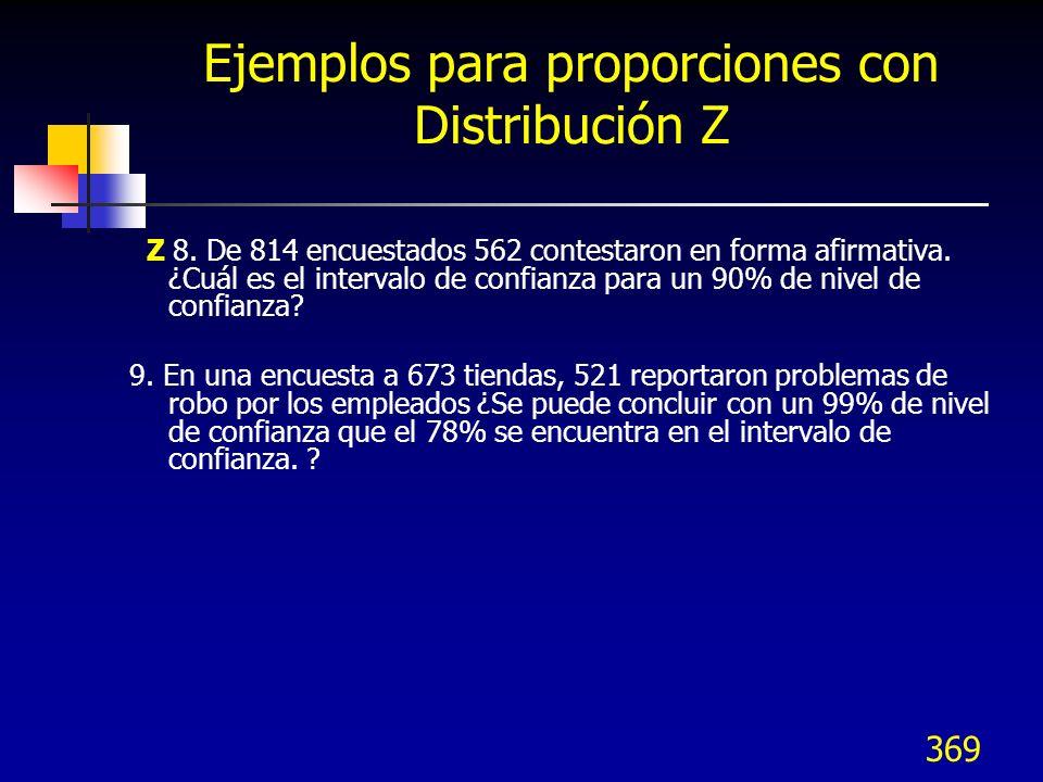 Ejemplos para proporciones con Distribución Z
