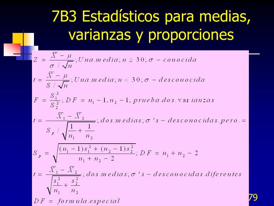 7B3 Estadísticos para medias, varianzas y proporciones
