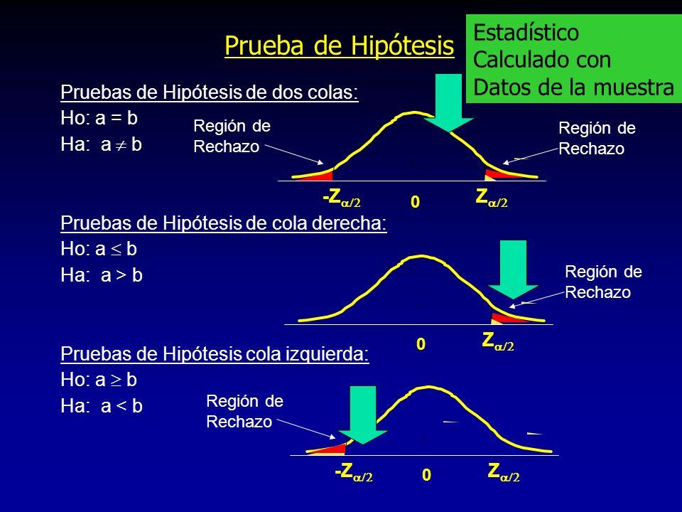 Prueba de Hipótesis Estadístico Calculado con Datos de la muestra