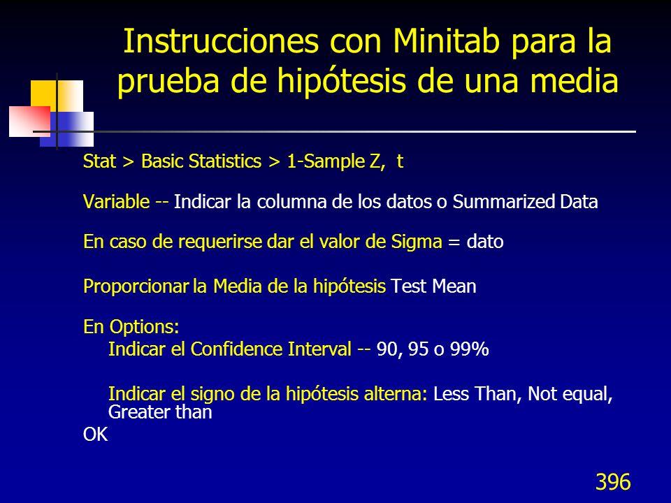 Instrucciones con Minitab para la prueba de hipótesis de una media
