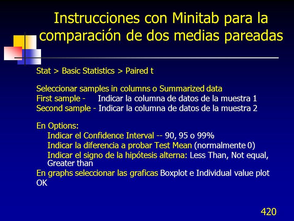 Instrucciones con Minitab para la comparación de dos medias pareadas
