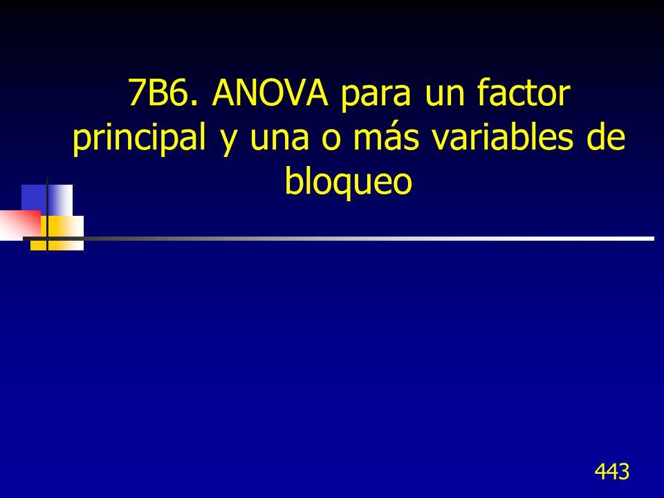 7B6. ANOVA para un factor principal y una o más variables de bloqueo