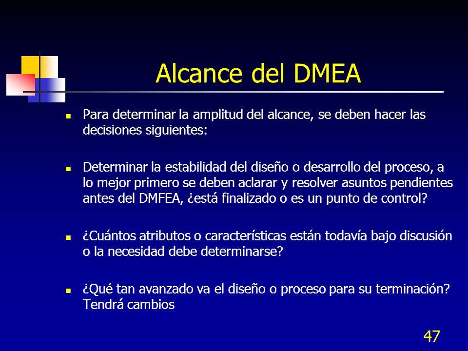 Alcance del DMEA Para determinar la amplitud del alcance, se deben hacer las decisiones siguientes: