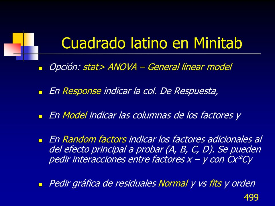 Cuadrado latino en Minitab