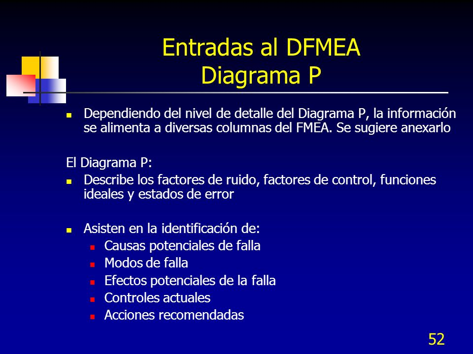 Entradas al DFMEA Diagrama P