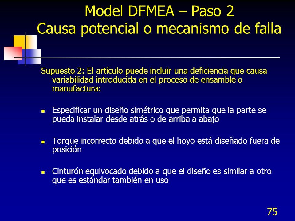 Model DFMEA – Paso 2 Causa potencial o mecanismo de falla