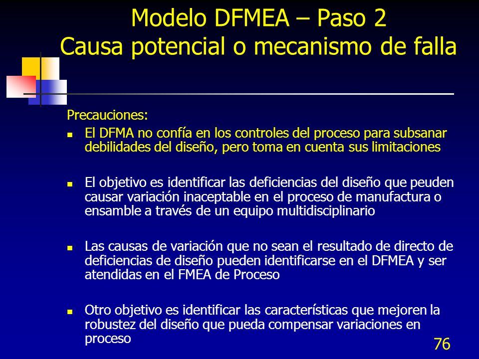 Modelo DFMEA – Paso 2 Causa potencial o mecanismo de falla