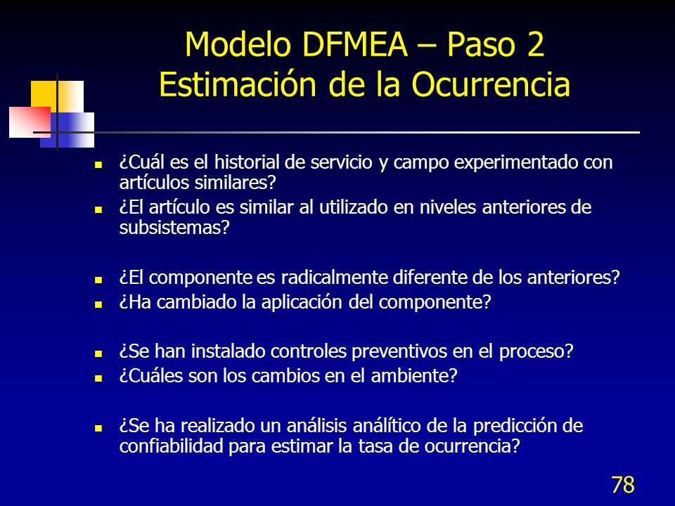 Modelo DFMEA – Paso 2 Estimación de la Ocurrencia