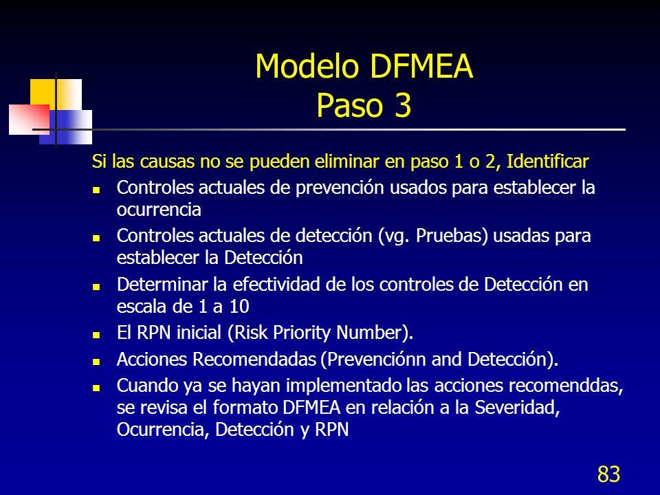 Modelo DFMEA Paso 3 Si las causas no se pueden eliminar en paso 1 o 2, Identificar.