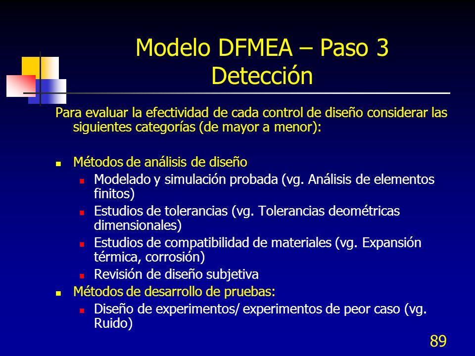 Modelo DFMEA – Paso 3 Detección