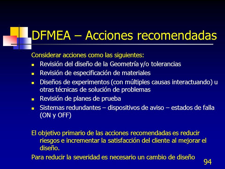 DFMEA – Acciones recomendadas
