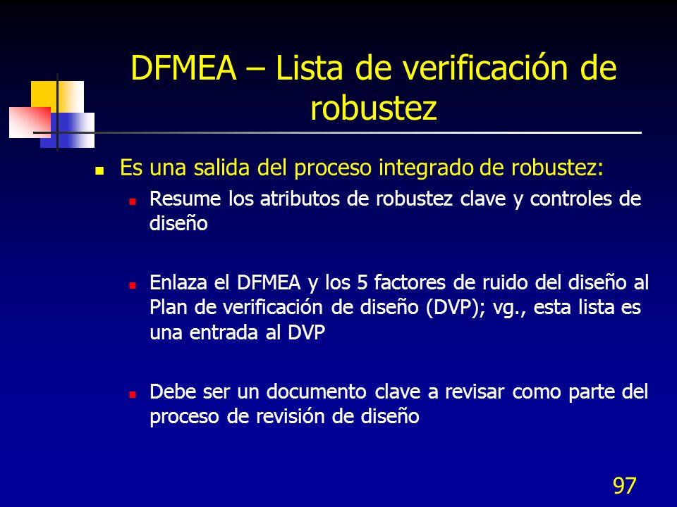 DFMEA – Lista de verificación de robustez