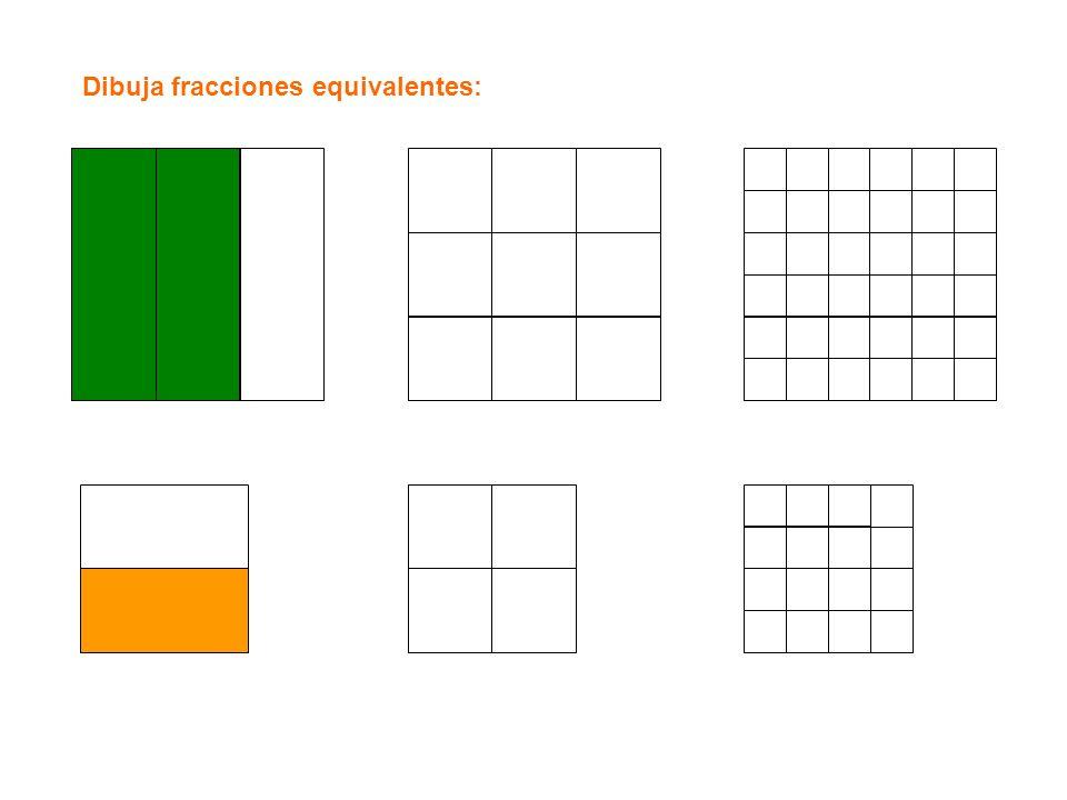 Dibuja fracciones equivalentes: