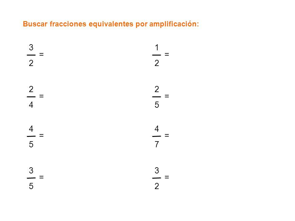Buscar fracciones equivalentes por amplificación: