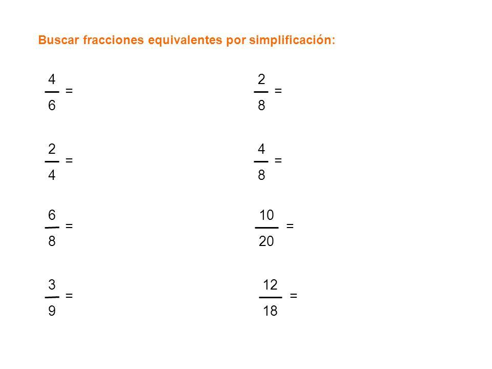 Buscar fracciones equivalentes por simplificación: