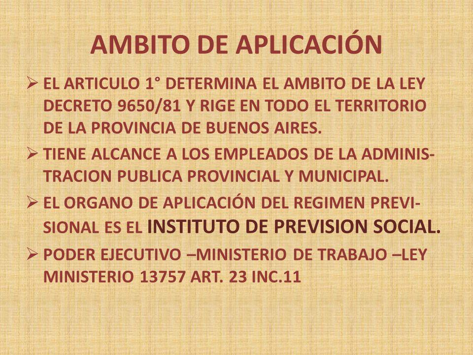 AMBITO DE APLICACIÓN EL ARTICULO 1° DETERMINA EL AMBITO DE LA LEY DECRETO 9650/81 Y RIGE EN TODO EL TERRITORIO DE LA PROVINCIA DE BUENOS AIRES.