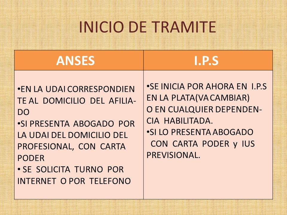 INICIO DE TRAMITE ANSES SE INICIA POR AHORA EN I.P.S
