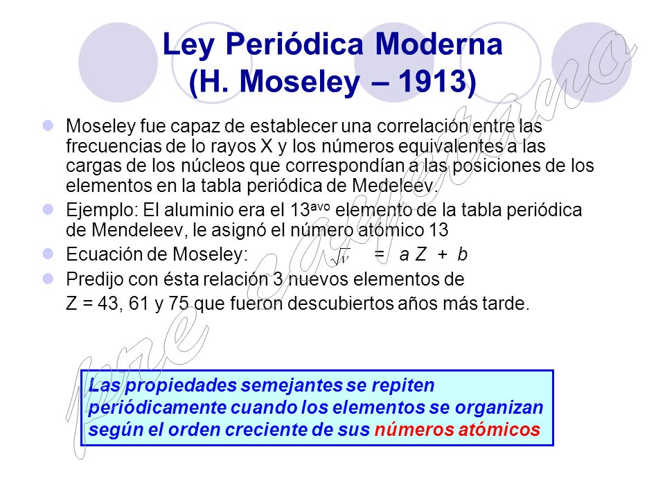 Tabla peridica pre cayetano ppt video online descargar ley peridica moderna h moseley 1913 urtaz Gallery