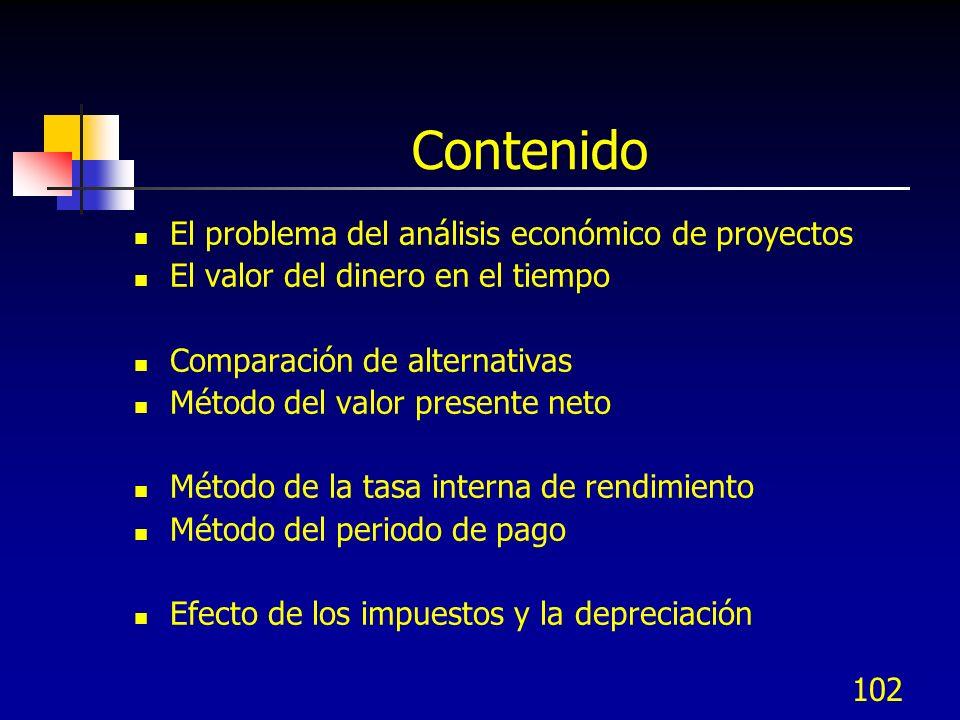 Contenido El problema del análisis económico de proyectos