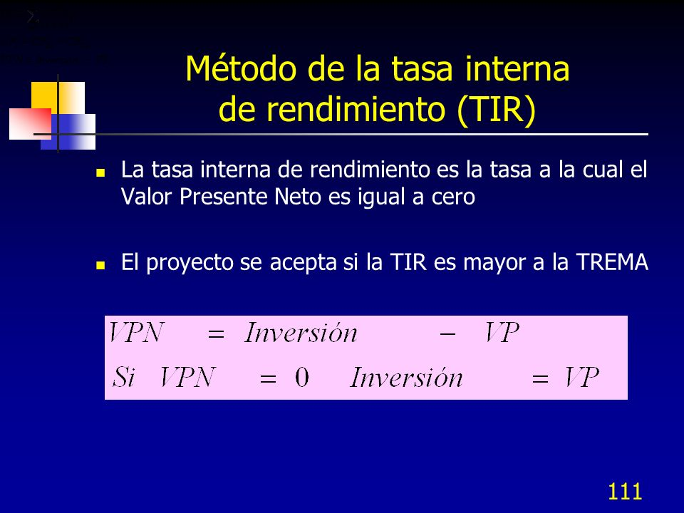 Método de la tasa interna de rendimiento (TIR)