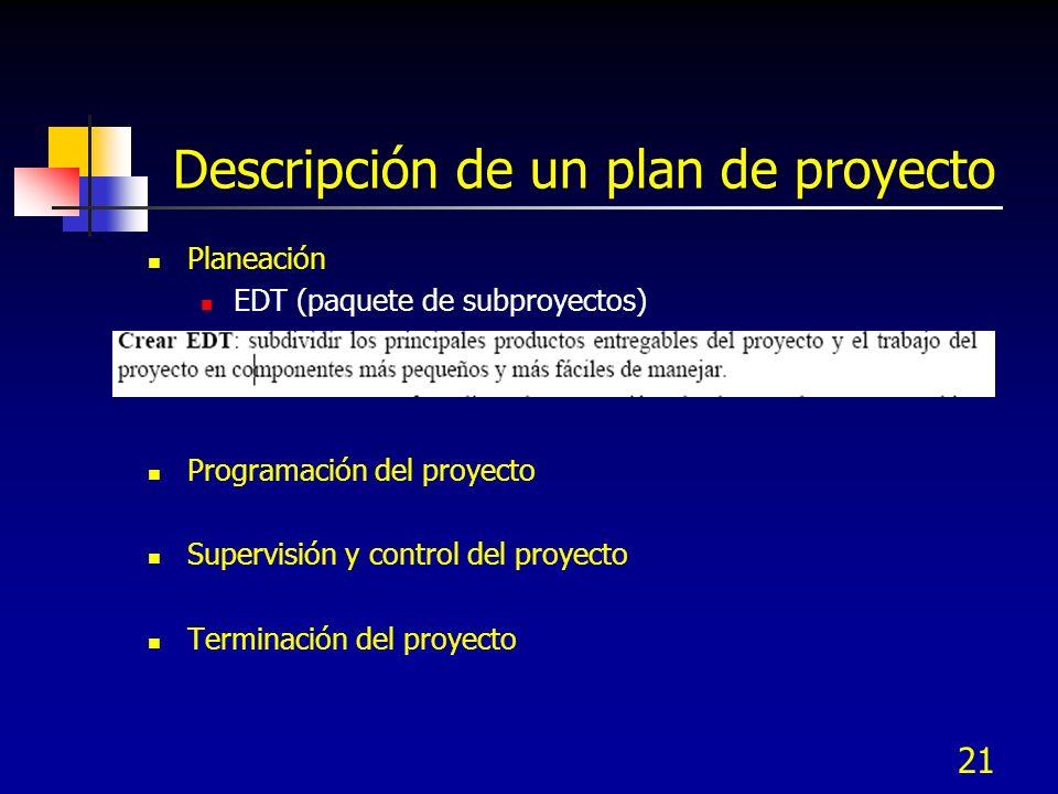 Descripción de un plan de proyecto