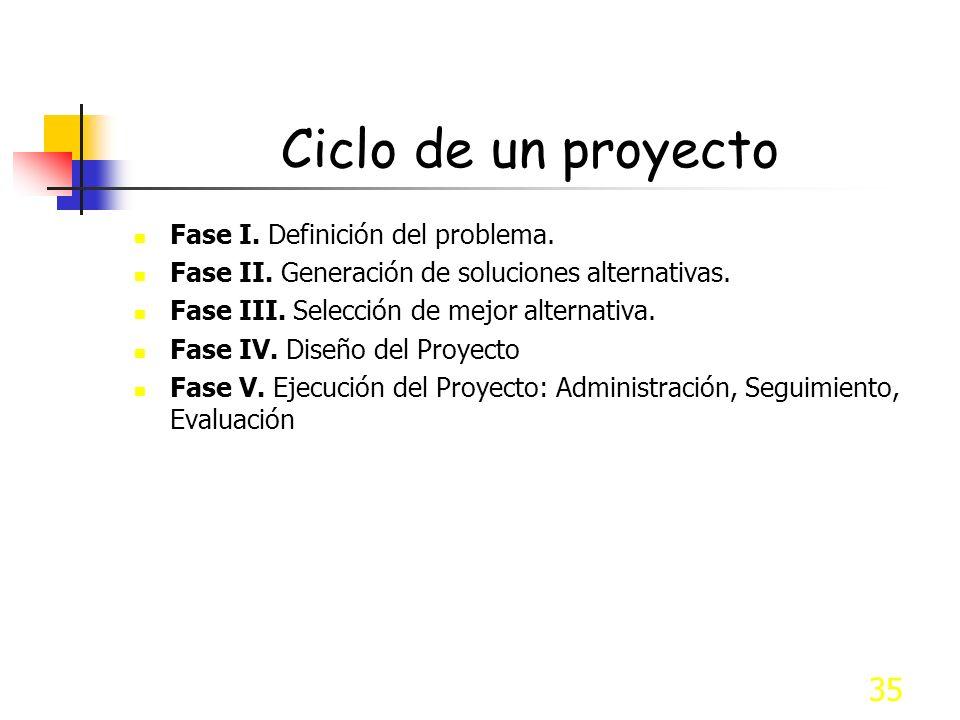 Ciclo de un proyecto Fase I. Definición del problema.