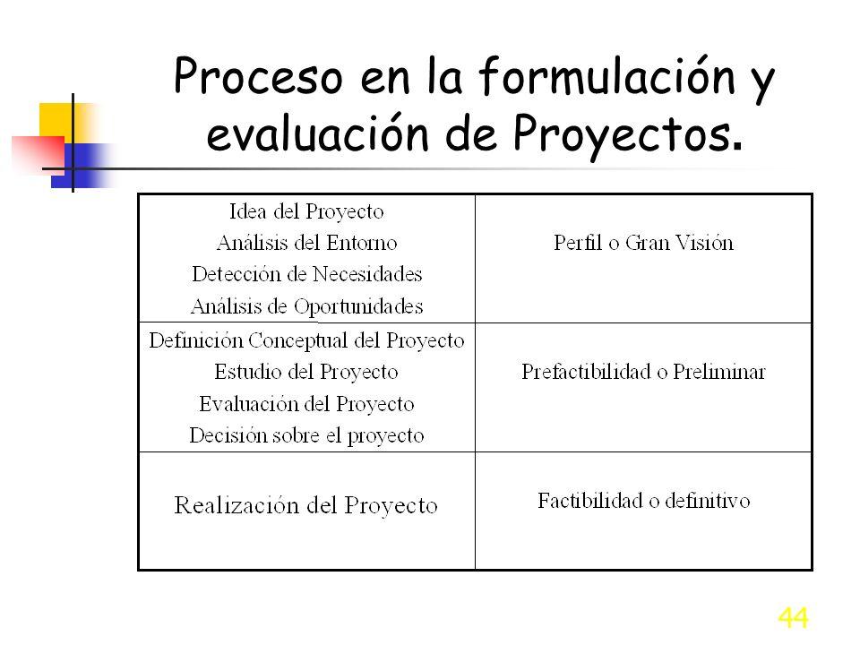 Proceso en la formulación y evaluación de Proyectos.