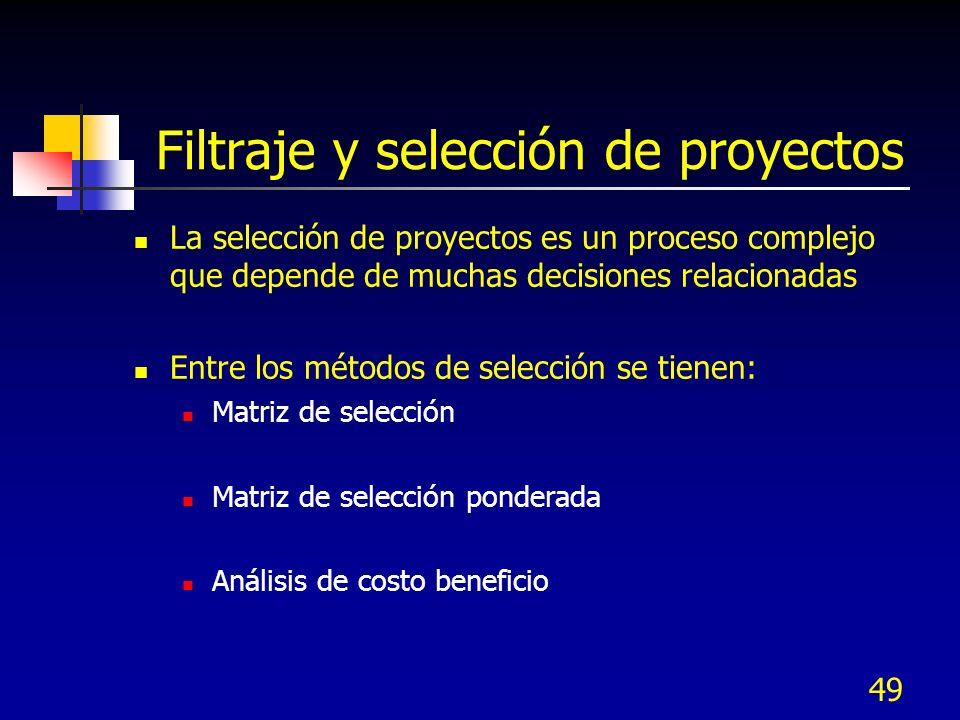 Filtraje y selección de proyectos