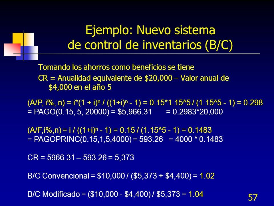 Ejemplo: Nuevo sistema de control de inventarios (B/C)
