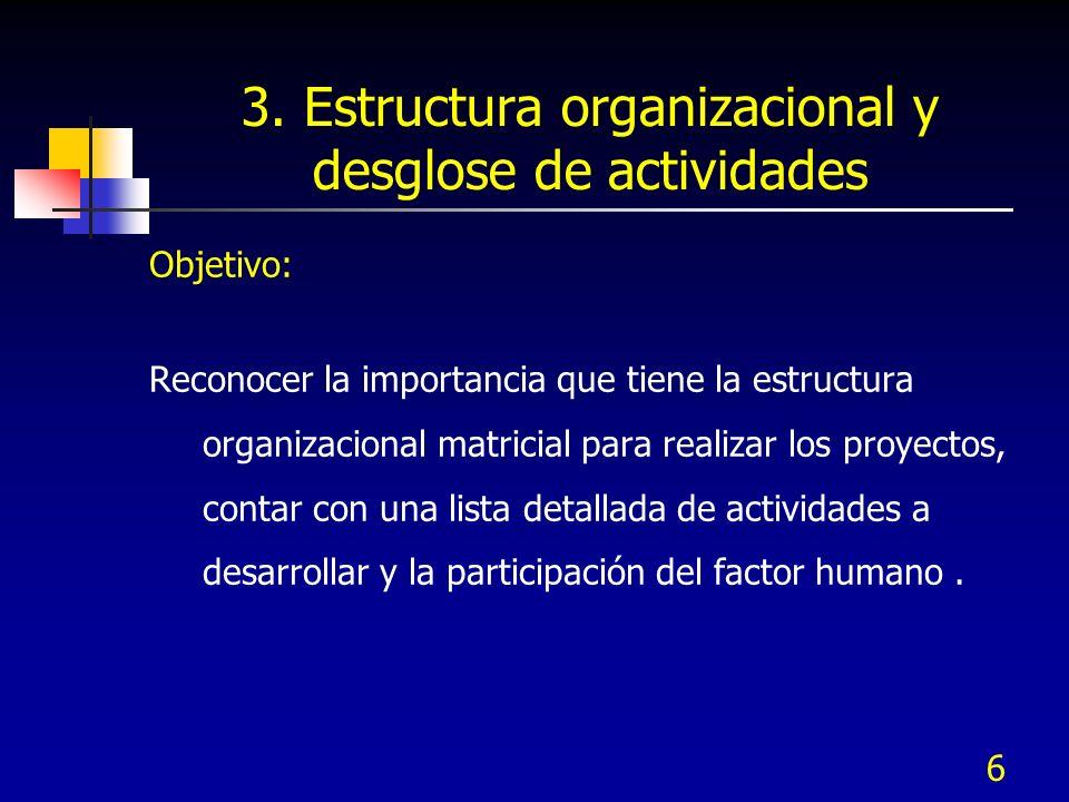 3. Estructura organizacional y desglose de actividades