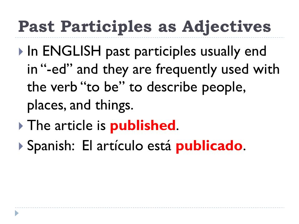 how to use the past participle in english