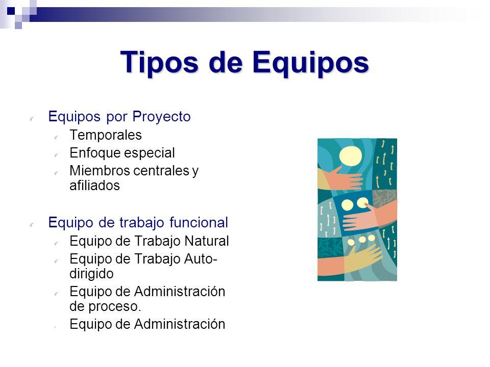 Tipos de Equipos Equipos por Proyecto Equipo de trabajo funcional