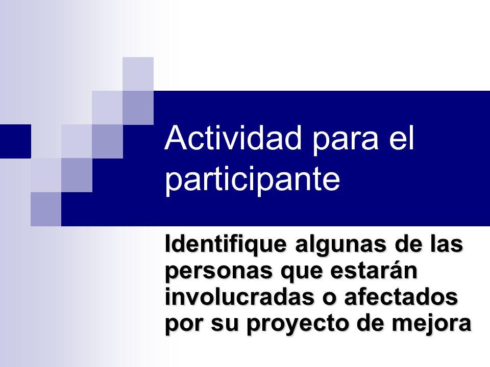 Actividad para el participante