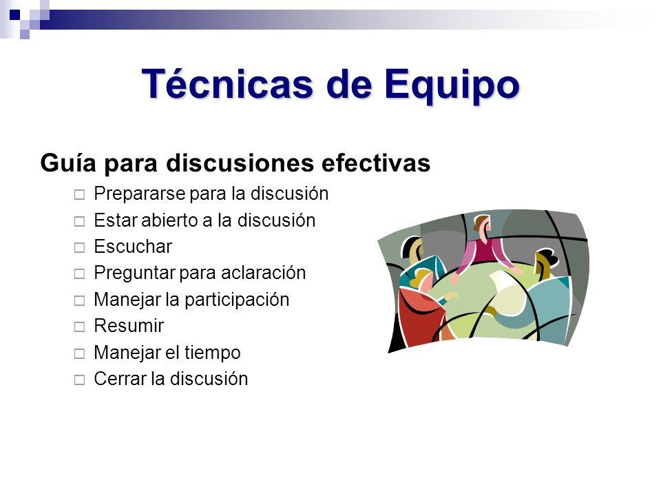 Técnicas de Equipo Guía para discusiones efectivas