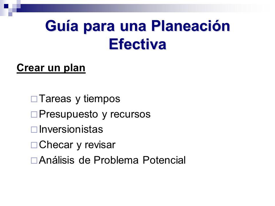 Guía para una Planeación Efectiva