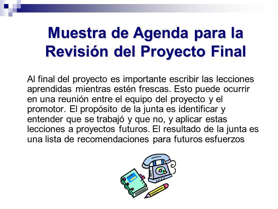Muestra de Agenda para la Revisión del Proyecto Final