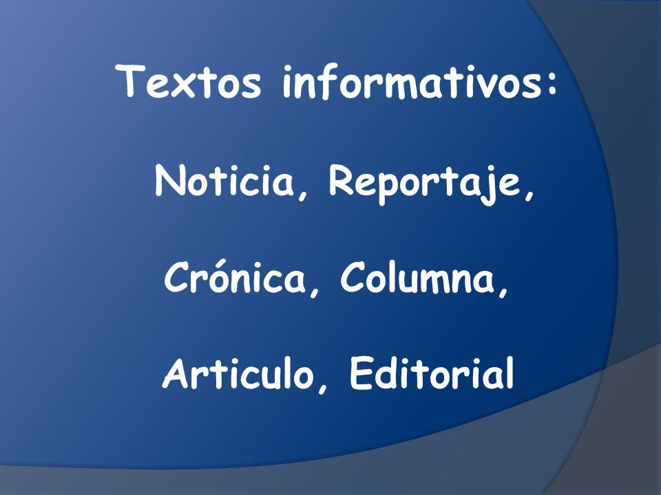 Textos informativos: Noticia, Reportaje, Crónica, Columna,