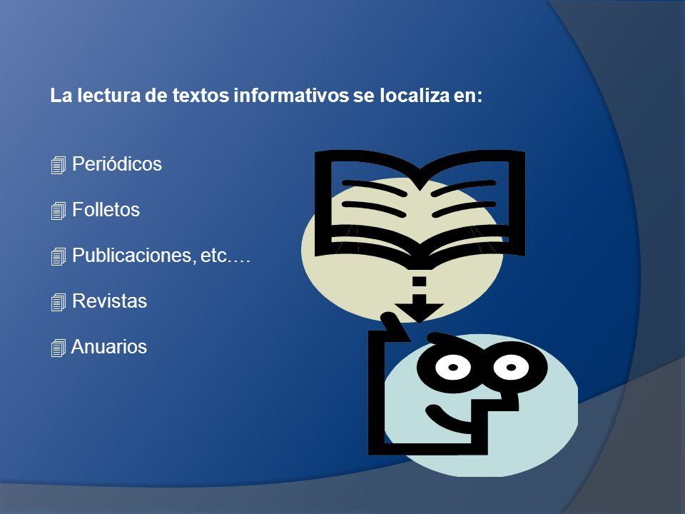 La lectura de textos informativos se localiza en: