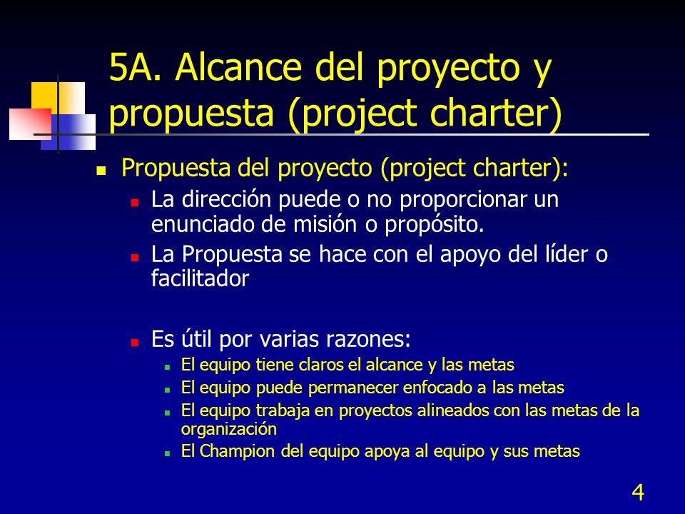 5A. Alcance del proyecto y propuesta (project charter)