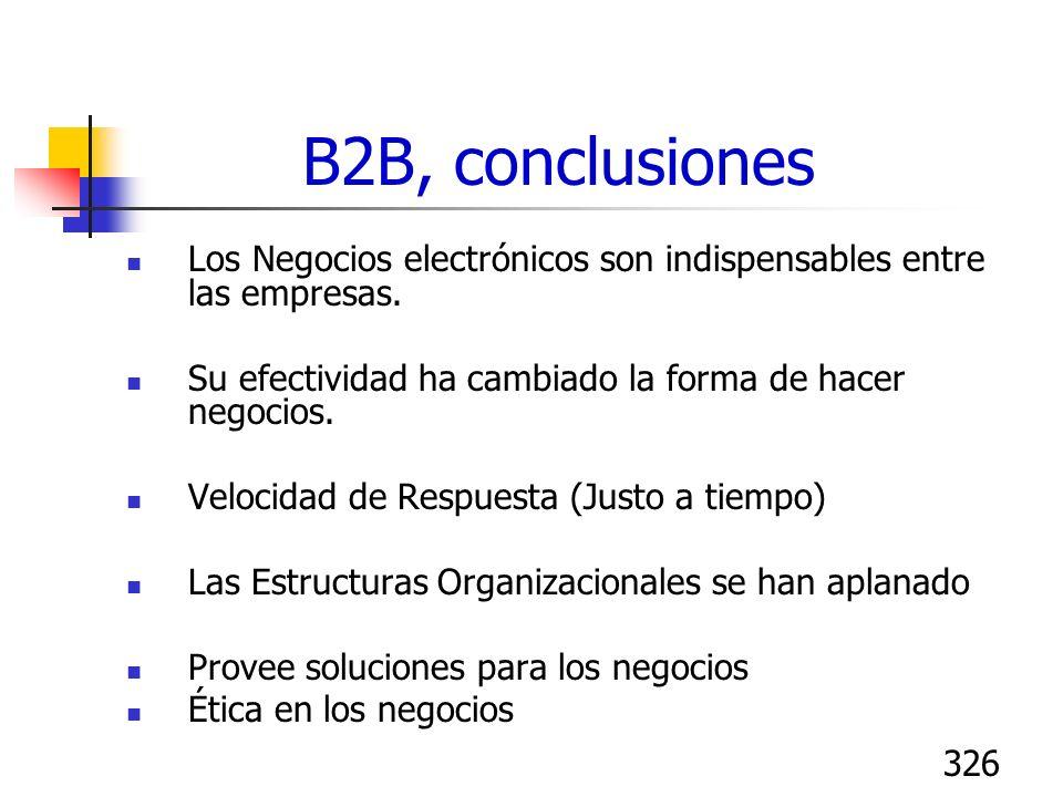 B2B, conclusionesLos Negocios electrónicos son indispensables entre las empresas. Su efectividad ha cambiado la forma de hacer negocios.