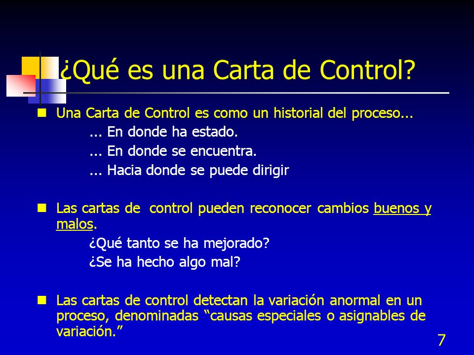 ¿Qué es una Carta de Control