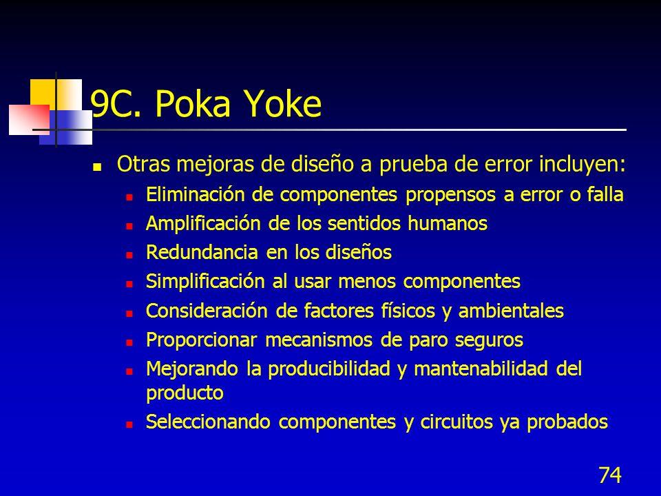 9C. Poka Yoke Otras mejoras de diseño a prueba de error incluyen: