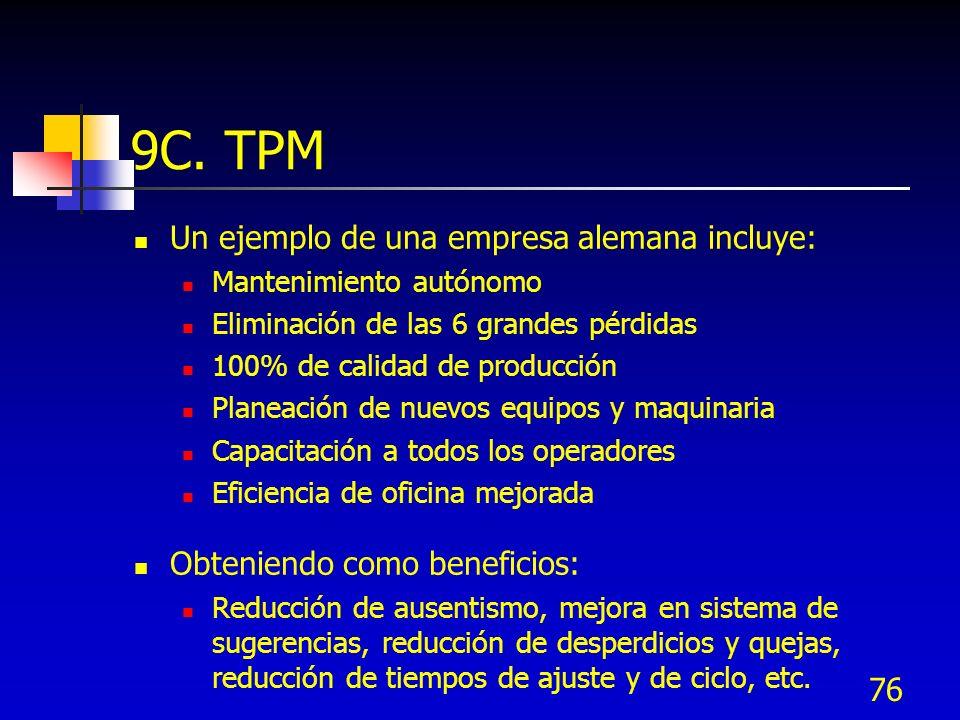 9C. TPM Un ejemplo de una empresa alemana incluye: