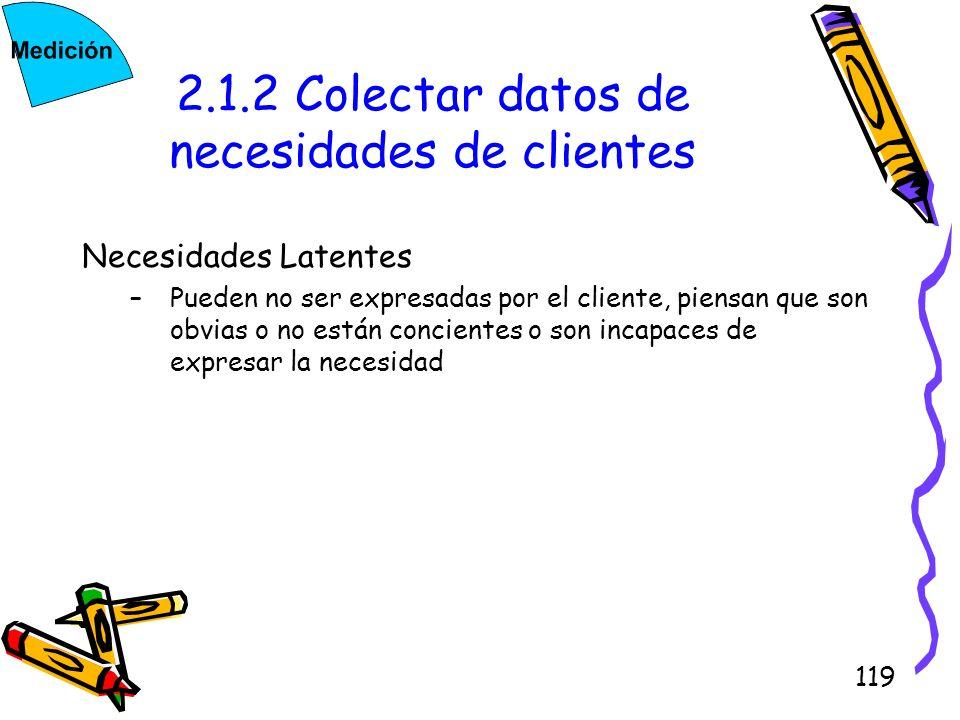 2.1.2 Colectar datos de necesidades de clientes
