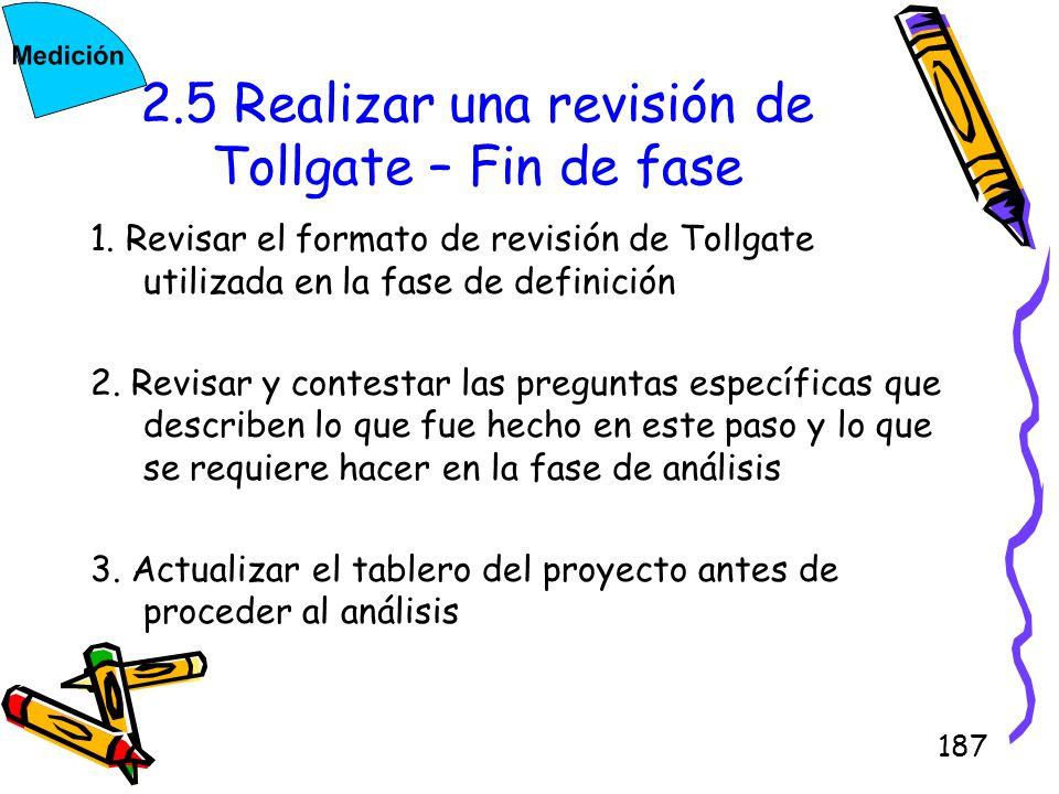 2.5 Realizar una revisión de Tollgate – Fin de fase