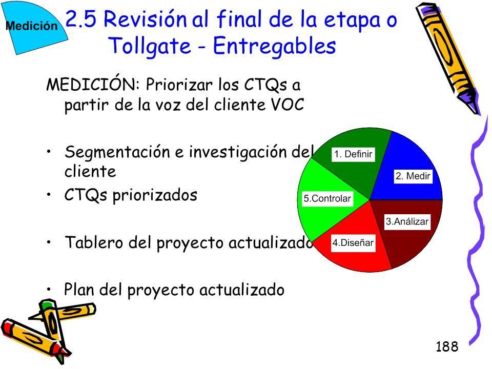 2.5 Revisión al final de la etapa o Tollgate - Entregables