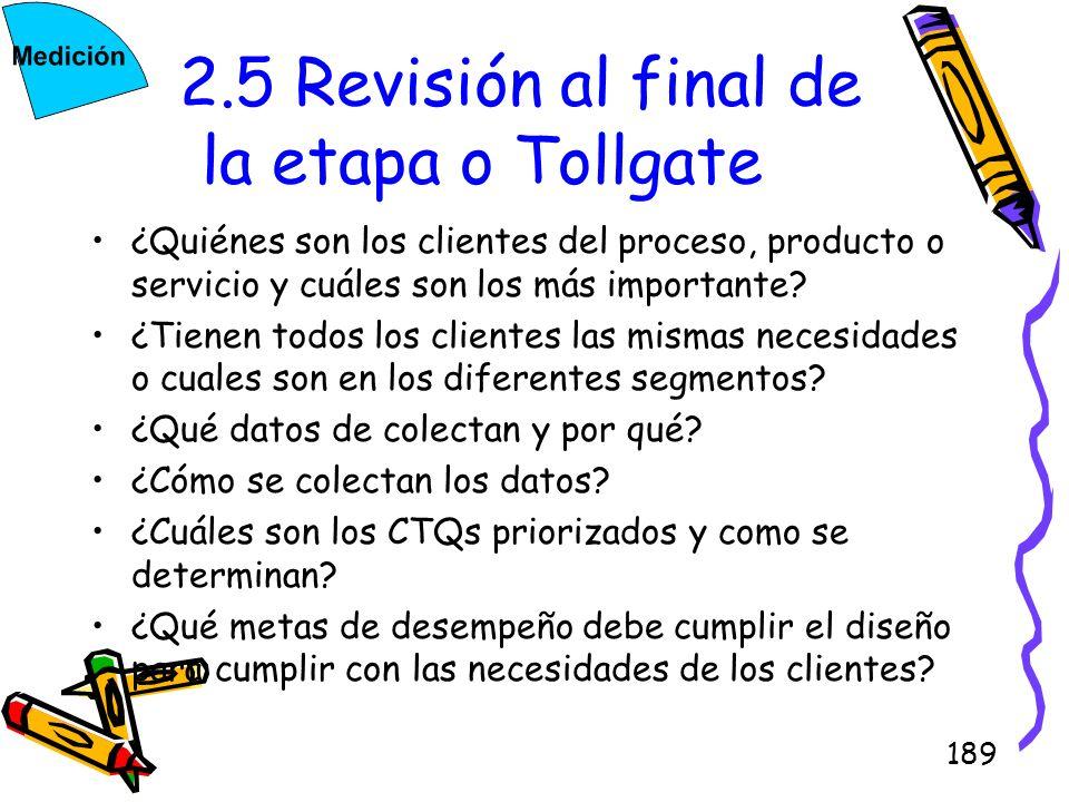 2.5 Revisión al final de la etapa o Tollgate